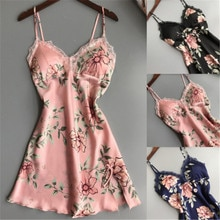 Women Sexy Lace Lingerie Satin Sleepwear Dress G-string Babydolls Chemises Nightwear V-neck Floral Babydoll Underwear Wholesale