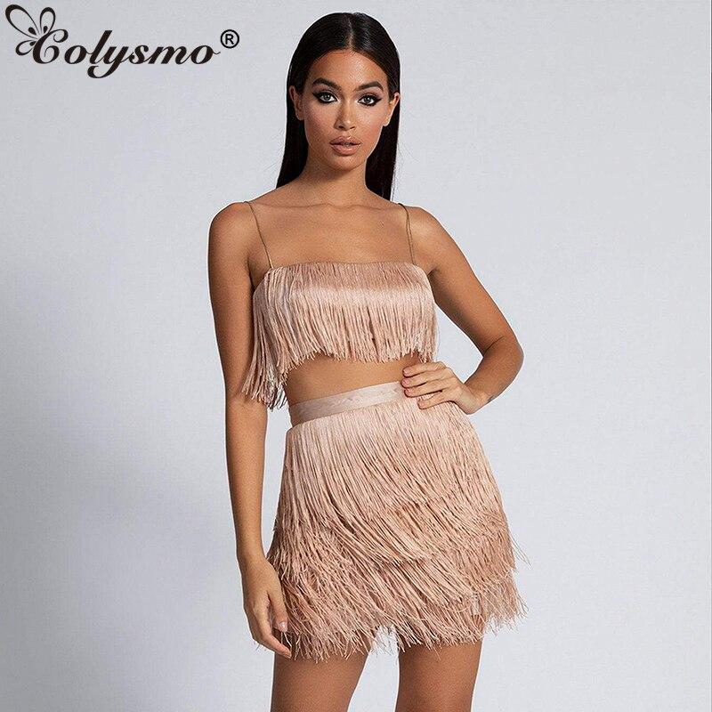Colysmo 2019 vestido de verano para mujer, vestido de fiesta con flecos, vestido de dos piezas Sexy para Club, vestidos elegantes, vestido blanco de 2 piezas rojo