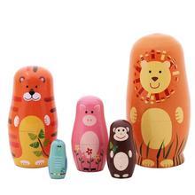 5 pièces/ensemble mignon en bois Animal peinture Matryoshka nidification poupées russe poupée main peinture jouets décoration de la maison anniversaire cadeaux de noël
