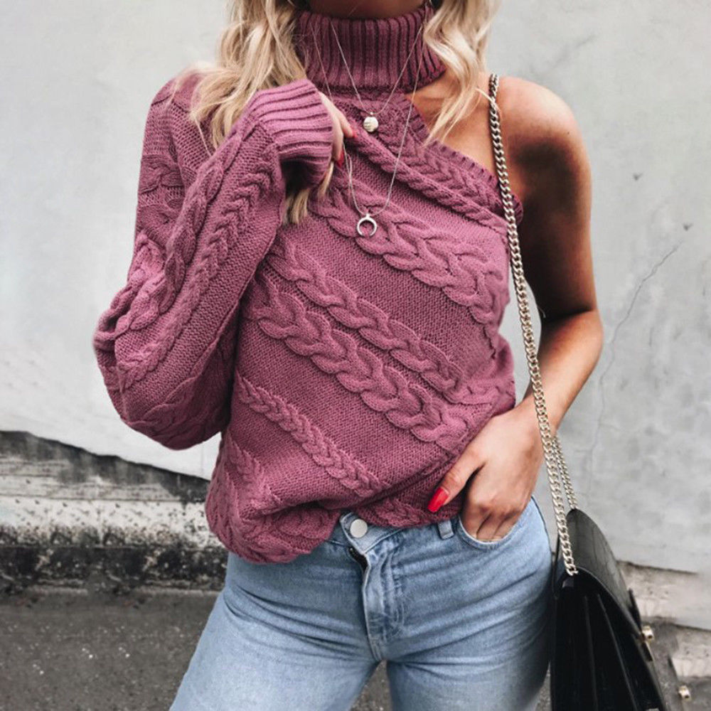 2018 Autumn Winter Fashion Women Sweaters Pullovers Long Sleeve Turtleneck One Shoulder Sweater Slim Solid Knitted Jumpers Tops