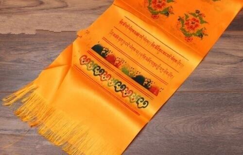 Budismo Tibetano, oración mongol Khata Hada, bufanda de dos filas, impresión en amarillo