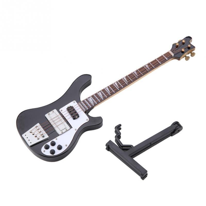 Réplica de guitarra de bajo en miniatura negra Morden de 20cm con soporte y ornamentos de instrumento de caja regalo para la decoración del hogar de moda
