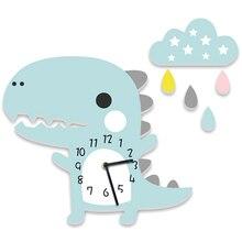 Reloj Adhesivo de pared con forma de nube, Saat dinosaurio Reloj de pared de dibujos animados, reloj silencioso estéreo para cuarto de niños y jardín de infancia