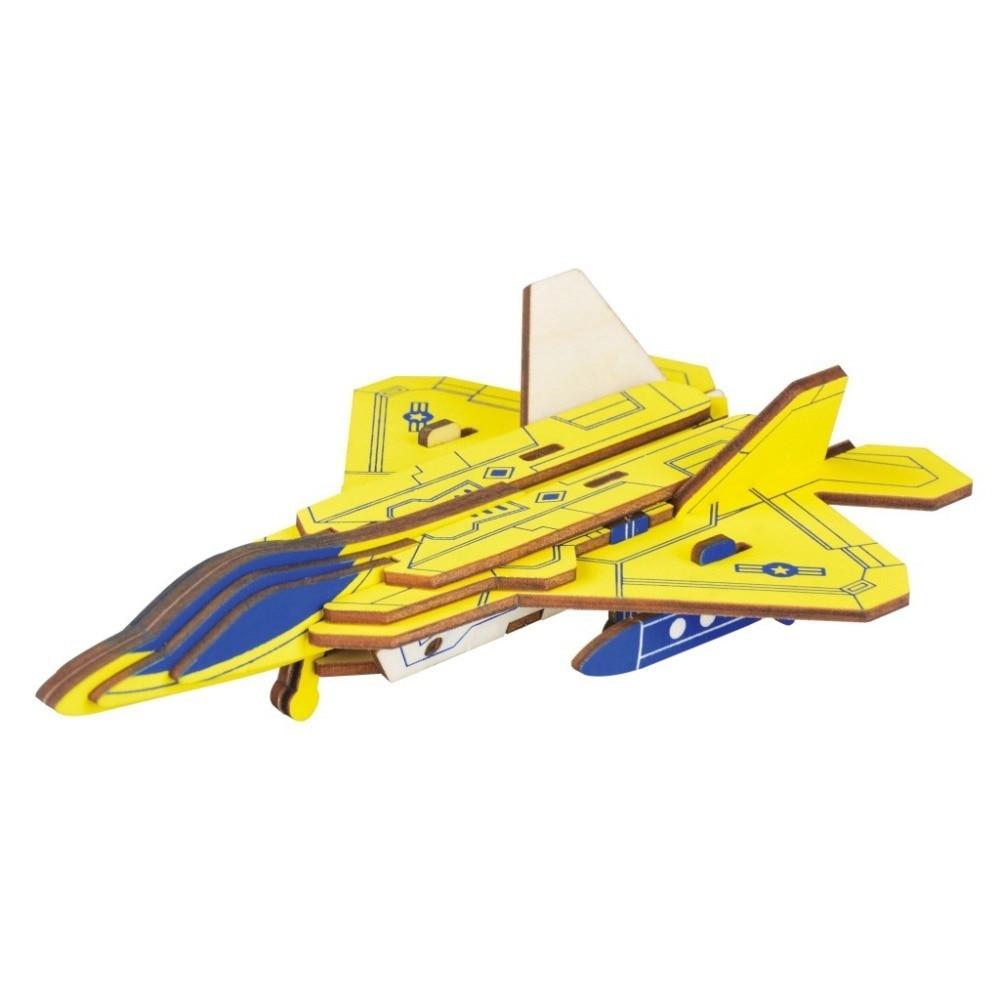 Lulong 3D rompecabezas de madera 3D puzle rompecabezas de madera Kit de ensamblaje de artesanías de madera-Raptor F22 Fighter con 23 Uds.