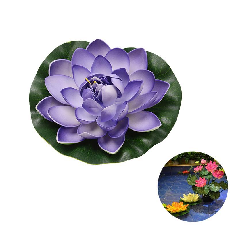 Planta flotante de espuma Artificial decorativa con flores artificiales encantadoras con hojas de loto falsas, decoración de tanque de agua