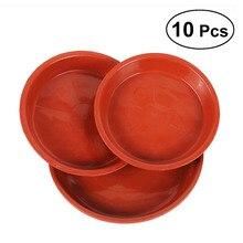 10 pièces forme ronde en plastique couleur unie pot de jardin soucoupe Pot de plante bac dégouttement planteur palette pot de fleurs plateau pour Fleshiness