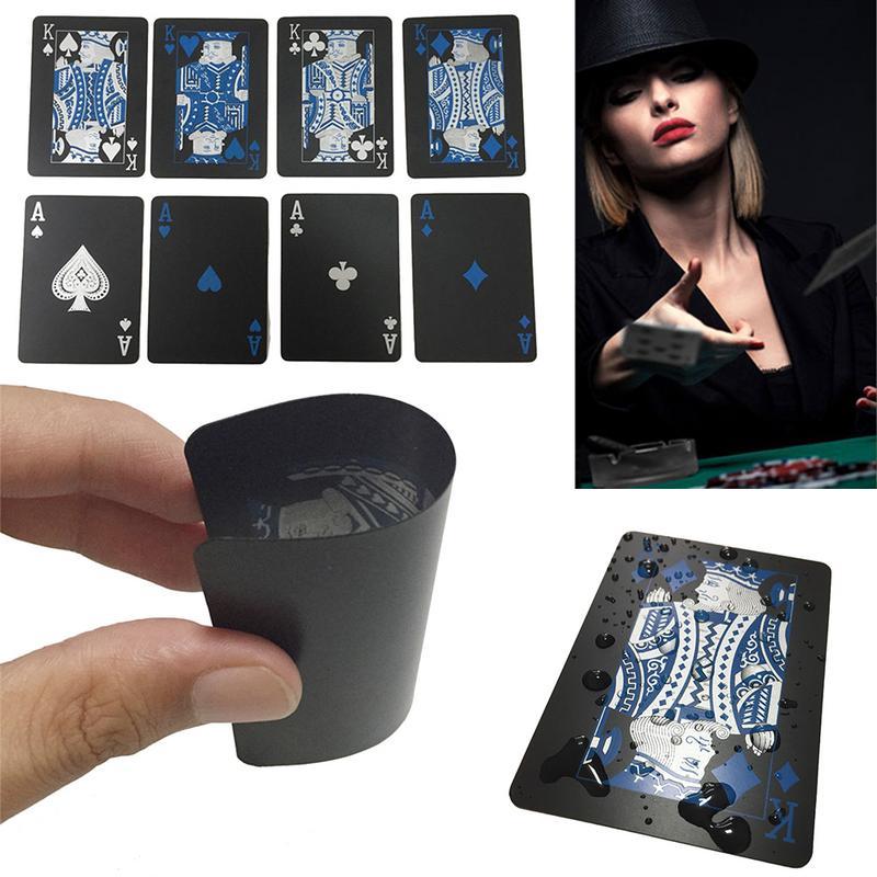 Cartões de jogo preto à prova dwaterproof água plástico coleção poker cartões baralho valioso criativo legal ponte jogos de cartas texas holdem