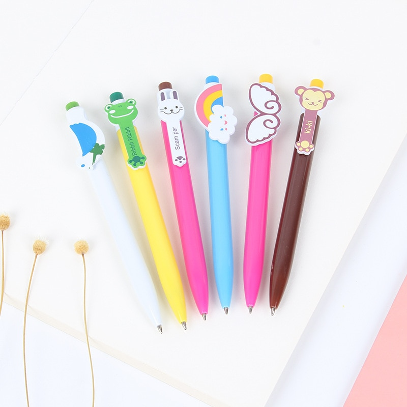 60 uds bolígrafos Kawaii de dibujos animados bolígrafo lindo y encantador gato pelota para pájaros bolígrafo plástico útiles escolares regalos de papelería Coreanos