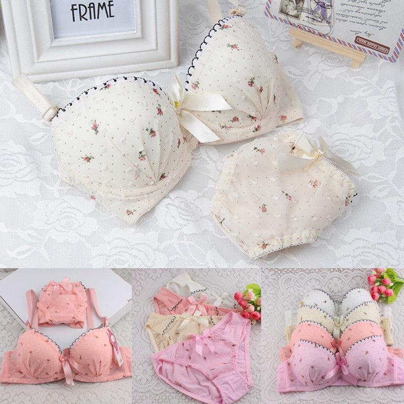 Moda novedosa, conjunto de lencería de impresión Floral dulce para mujeres y niñas, sujetadores ajustables, Sujetadores Push-up, ropa interior, 2 uds, novedades