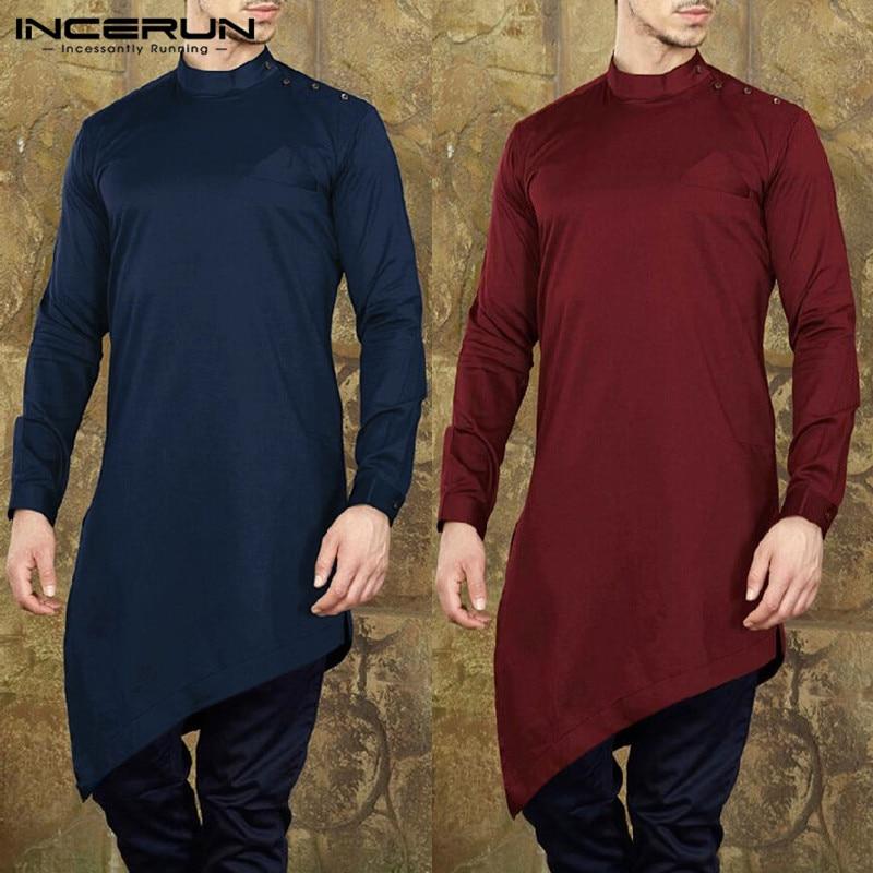 INCERUN Mens Shirts  Suit Long Sleeve Solid Men Long Tops Muslim Islamic Arab Kaftan Casual Irregular Hem Men Clothes 2020