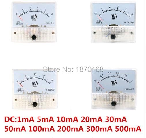 Panel medidor de corriente analógica CC 1MA/5MA/10MA/20MA/30MA/50MA/100MA/200MA /300MA/500mA AMP medidor mecánico actual amperímetros 85C1