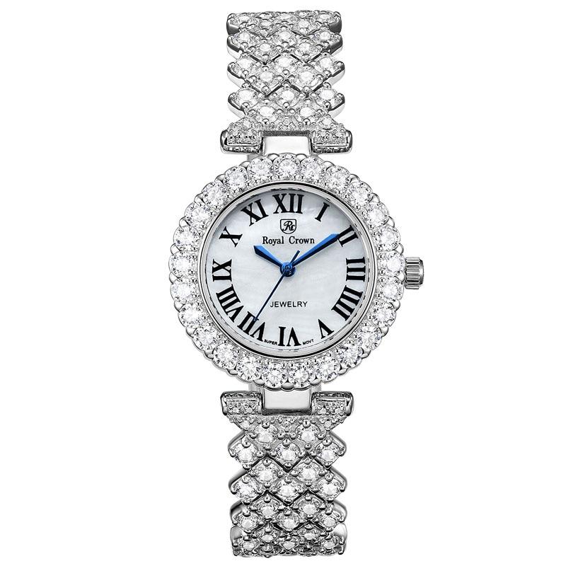 Luxury Jewelry Lady Women's Watch Fine Fashion Hours Prong Setting Bracelet Rhinestone Gold Plated Girl Gift Royal Crown Box
