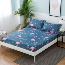 1pcs 100%Polyester Printed Solid Fitted Sheet Mattress Cover Four Corners With Elastic Band Bed Shee