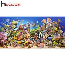 Huacan diamant peinture poisson Animal 5D Kit de bricolage point de croix diamant broderie mer strass mosaïque pleine carré décoration de la maison