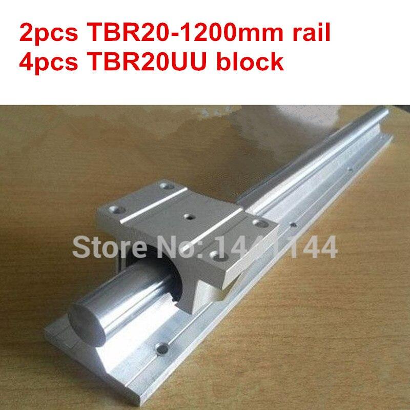 TBR20 الخطي دليل السكك الحديدية: 2 قطع TBR20-1200 ملليمتر خطي السكك الحديدية + 4 قطع TBR20UU شفة خطي الشريحة كتلة