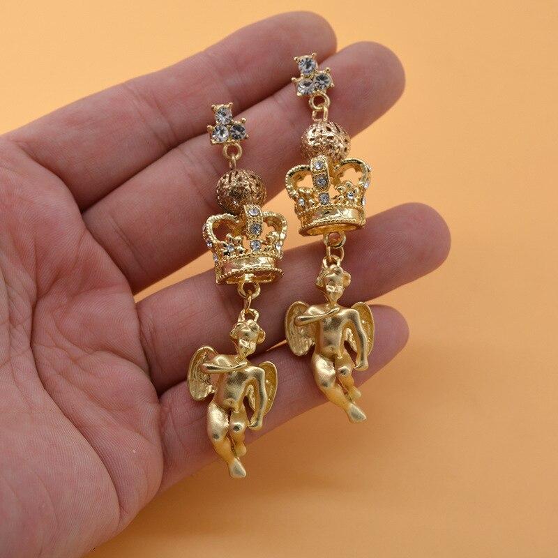 Женские Винтажные висячие серьги в стиле барокко, золотые висячие серьги с кристаллами ангела для женщин, ювелирные изделия высокого качества, розничная и оптовая продажа