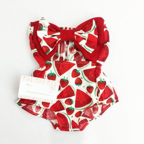 Красный комбинезон для новорожденных, боди с бантом, летняя одежда для маленьких девочек, 2019