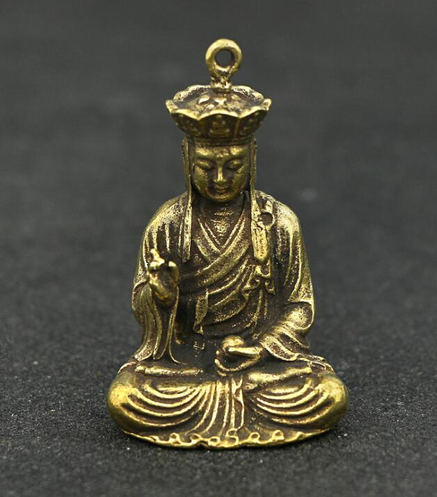 Coleção Chinês Bronze Esculpido Xuan Zang Tang Estátua Monge Tang Seng Requintado Pequeno Pingente