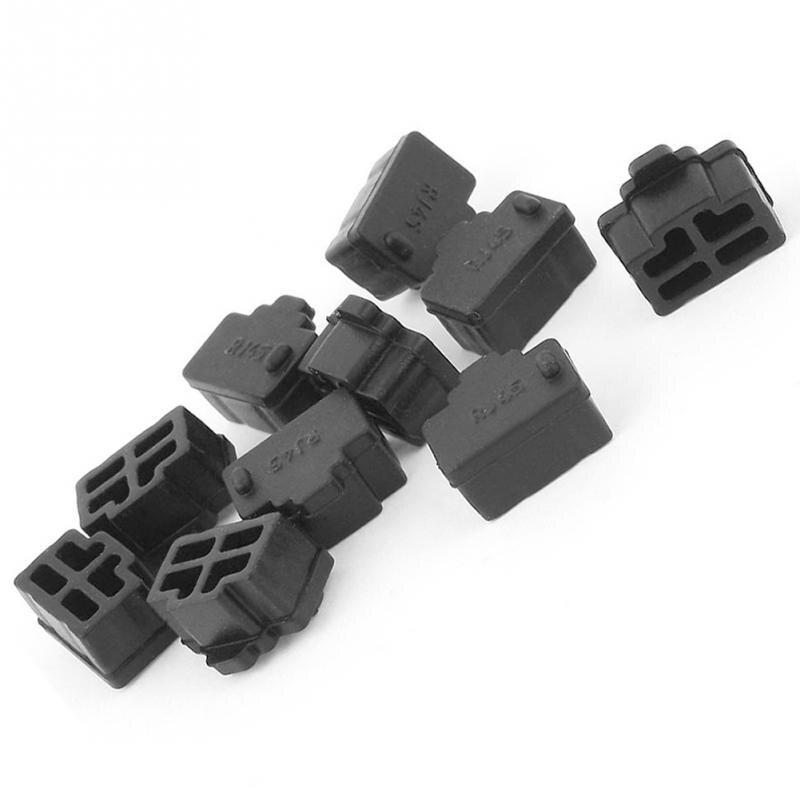 10 pièces noir Ethernet Hub Port RJ45 Anti poussière cache bouchon protecteur prise pour RJ45 femelle Jack