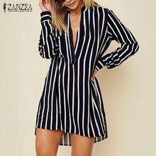 Plus Size Woman Long Shirt ZANZEA 2020 Women Striped Chiffon Blusas Dress Female Long Sleeve Shirts Mini Vestidos Robe Femme 5XL