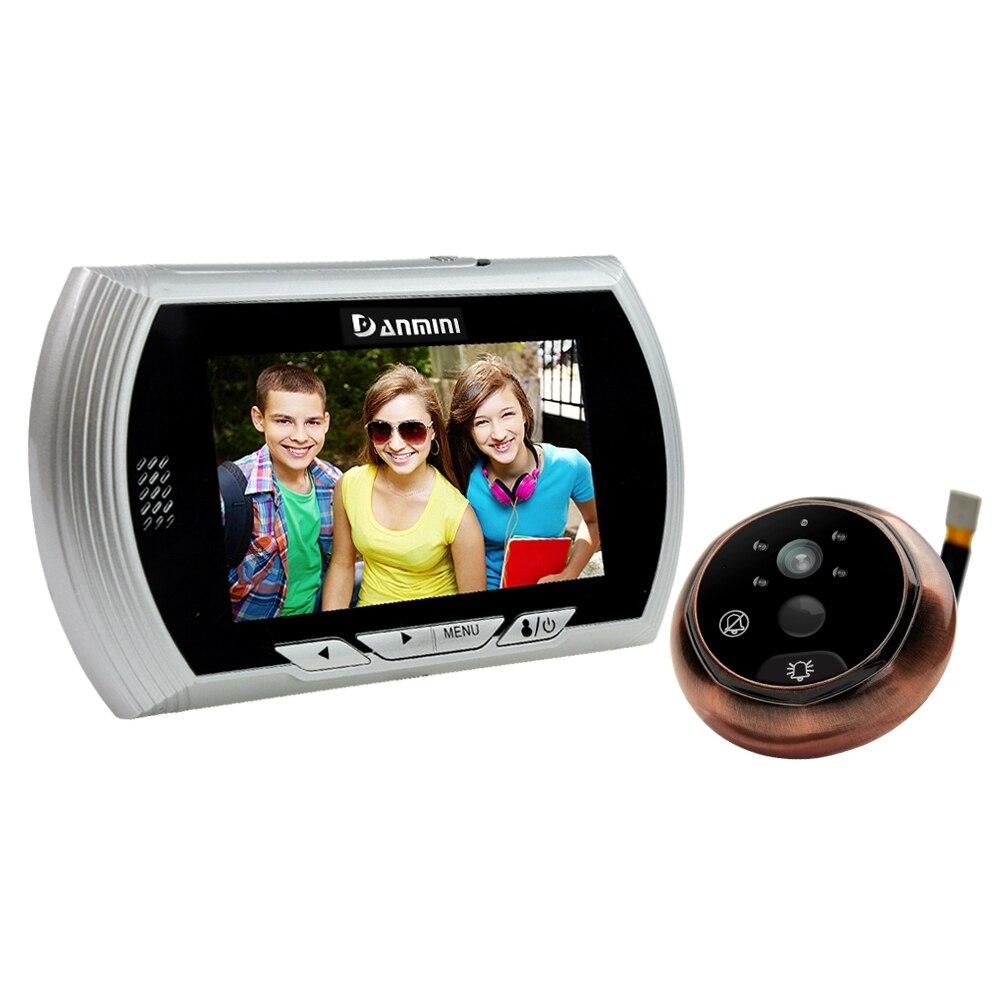 Danmini golden door viewer câmera 4.3 Polegada tft lcd tela espectador olho mágico visão noturna digital campainha gravador de vídeo