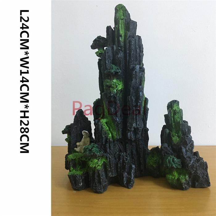 L24cm W14cm H28cm Resin Moutain Fishing Man Tree Decorative Rocks For Aquarium Plant Fish Tank Ornament Decoration Free Shipping