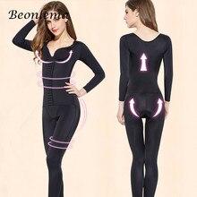 Beonlema ventre minceur Shapewear femmes corps complet Shaper bout à bout modélisation Body manches longues jambe Shaper ouvert entrejambe S-3XL