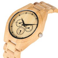 All Bamboo False Small Dial Wooden Quartz Watch Movement for Women Men Minimalist Wooden Watches Elegant Wood Strap Wrist Watch