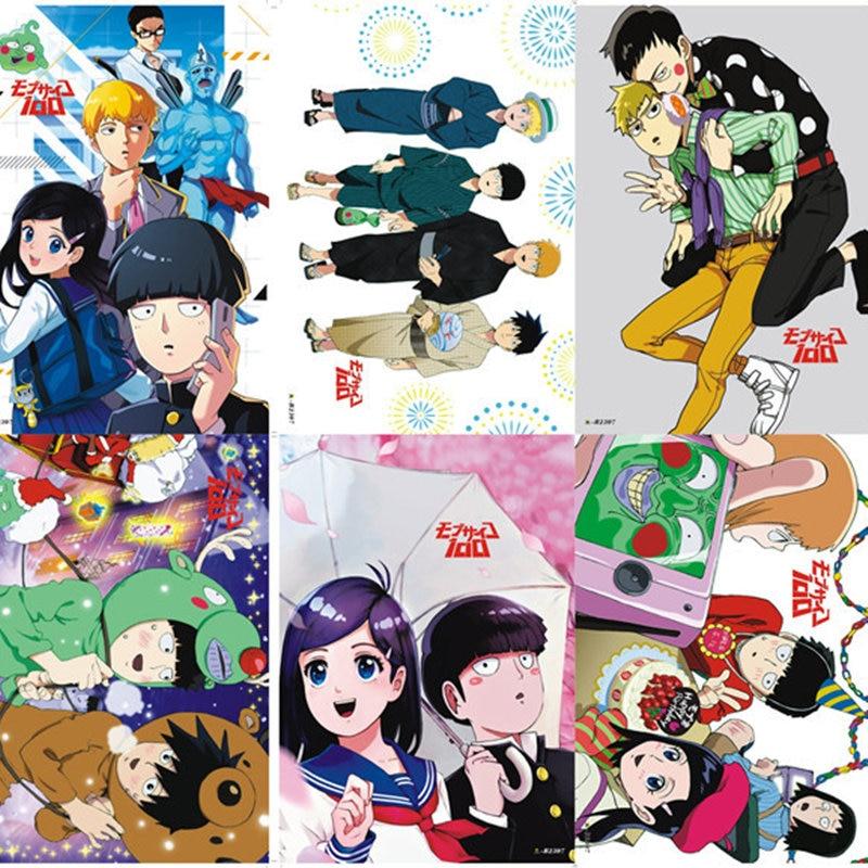 8 unids/set Anime Mob Psycho 100 cartel en relieve Mobu Saiko Hyaku figura pegatina para regalos