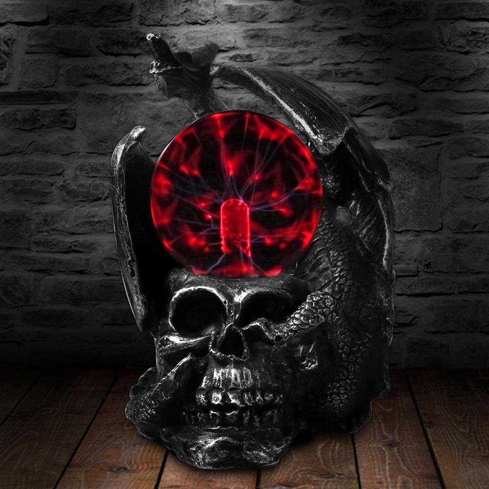 تمثال رأس جمجمة التنين القوطي ، زجاج كهربائي ، ضوء رعب ، كرة بلازما ، مصباح مكتب جديد