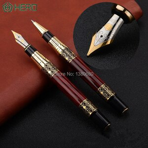 Gift fountain Hero Rollerball pen Fashion new style Wood Red barrel ink pen Office and learning luxury writing metal pen