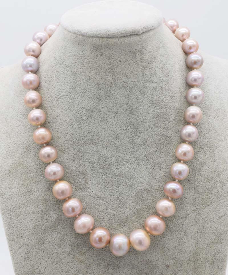 Perla de agua dulce AA rosa/púrpura cerca redonda 12-15mm collar Edsion 18 pulgadas naturaleza FPPJ cuentas al por mayor