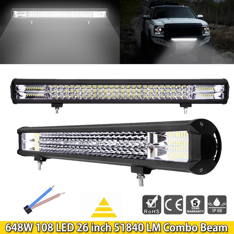5 uds, barra de luz led de obra GERUITE 26 pulgadas 648W 108, 6D, foco Led de inundación, barra de luz led, luces de parachoques delantero de coche para SUV