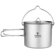 TOMSHOO – Pot en titane, tasse deau avec couvercle et poignée pliable, Pot de cuisine, pique-nique, 1100ml