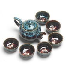 Service à thé chinois en céramique glaçure   Service à thé en porcelaine, service à thé chinois Kung Fu, théière café et Gaiwan, service à thé de cérémonie, théière principale