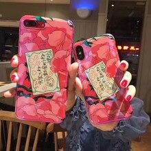 Kawaii filles rose fleurs mignon housse de téléphone anime pour coque iphone 7 8 6s Puls Blu ray coque en silicone pour iphone couverture X XR XS max