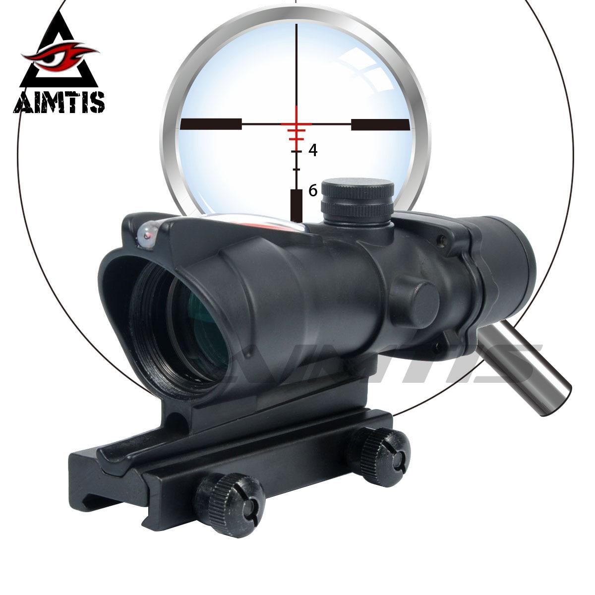 AIMTIS mejorada caza ACOG 308 4X32 alcance Real fuente de fibra óptica rojo verde iluminado alcance táctico rifloscopio para rifle