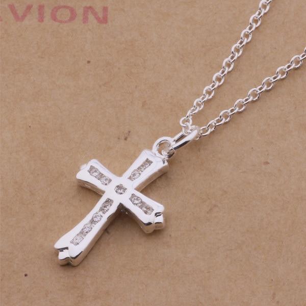An326 Hot 925 Sterling Silver Necklace 925 Silver Fashion Jewelry Pendant Cross Inlaid Transparent Stone /gomapfta Asyajkfa