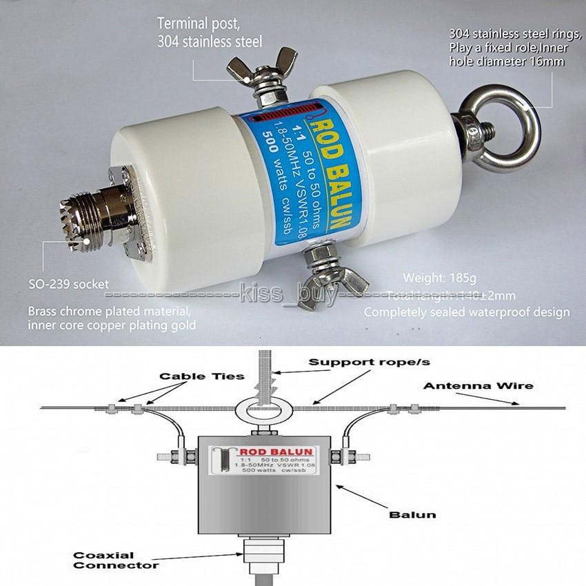 11 impermeable HF Balun para 160 m-6 m bandas (1,8-50 MHz) 500W impermeable