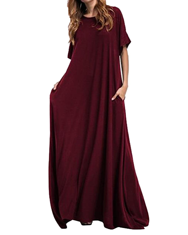 Longo maxi vestido zanzea 2019 feminino meia manga sólida em torno do pescoço vintage casual solto longo elegante robe bodycon vestidos plus size