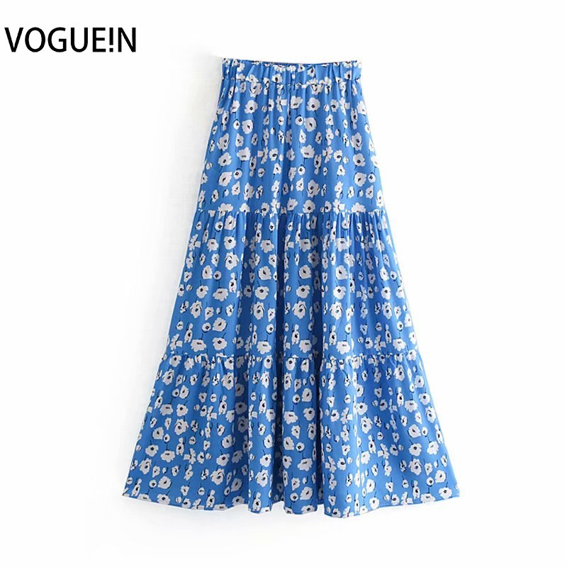 Nueva falda Maxi azul de cintura elástica con estampado Floral blanco Casual de verano para mujer
