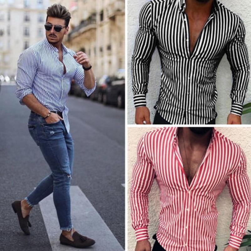 Camisa de manga larga a rayas para hombres de moda 2019, camisa Formal de tres colores para Primavera, estándar europeo