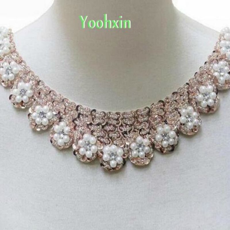 New 5cm Cotton 3D Pearl Lace Collar Fabric Ribbon Trim DIY Embroidery Sewing Neckline Applique Fringe Craft Dress Guipure Decor