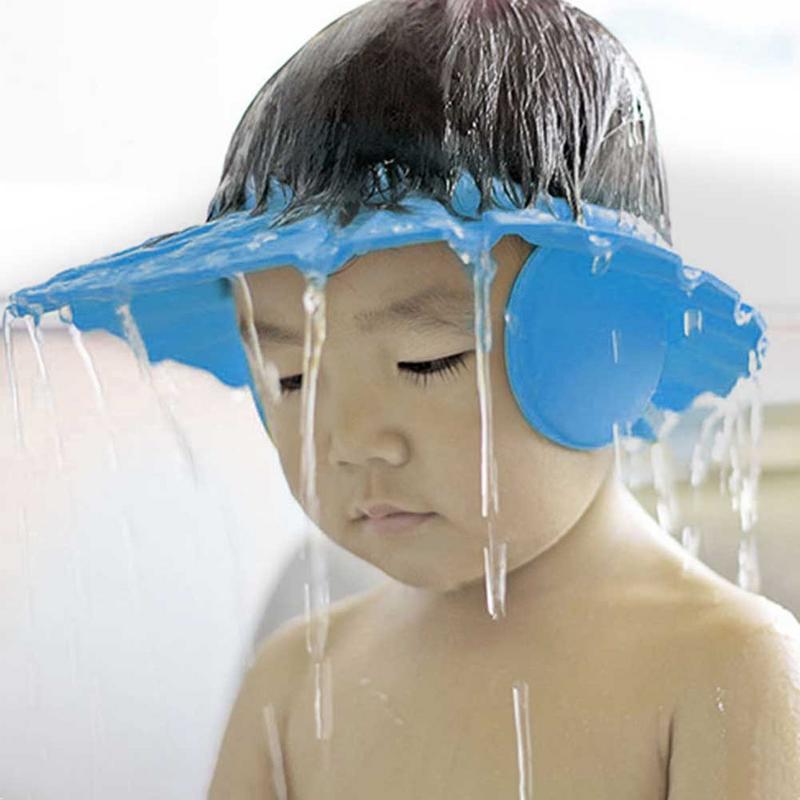 2 Color ajustable Baby Shower Cap protege a los niños chico Shampoo baño lavar sombrero de protección de pelo impermeable previene el agua en la oreja
