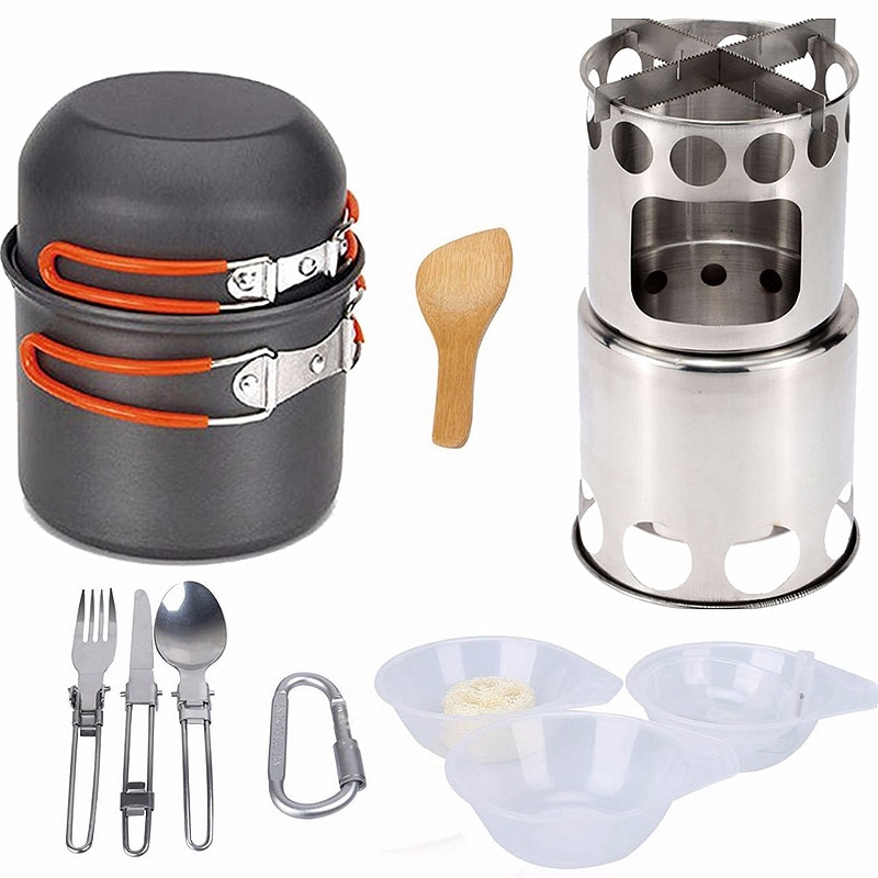14 unids/set acampar al aire libre Pan estufa de madera senderismo utensilios de cocina Picnic tazón olla Pan conjunto utensilios Camping Mess Kit