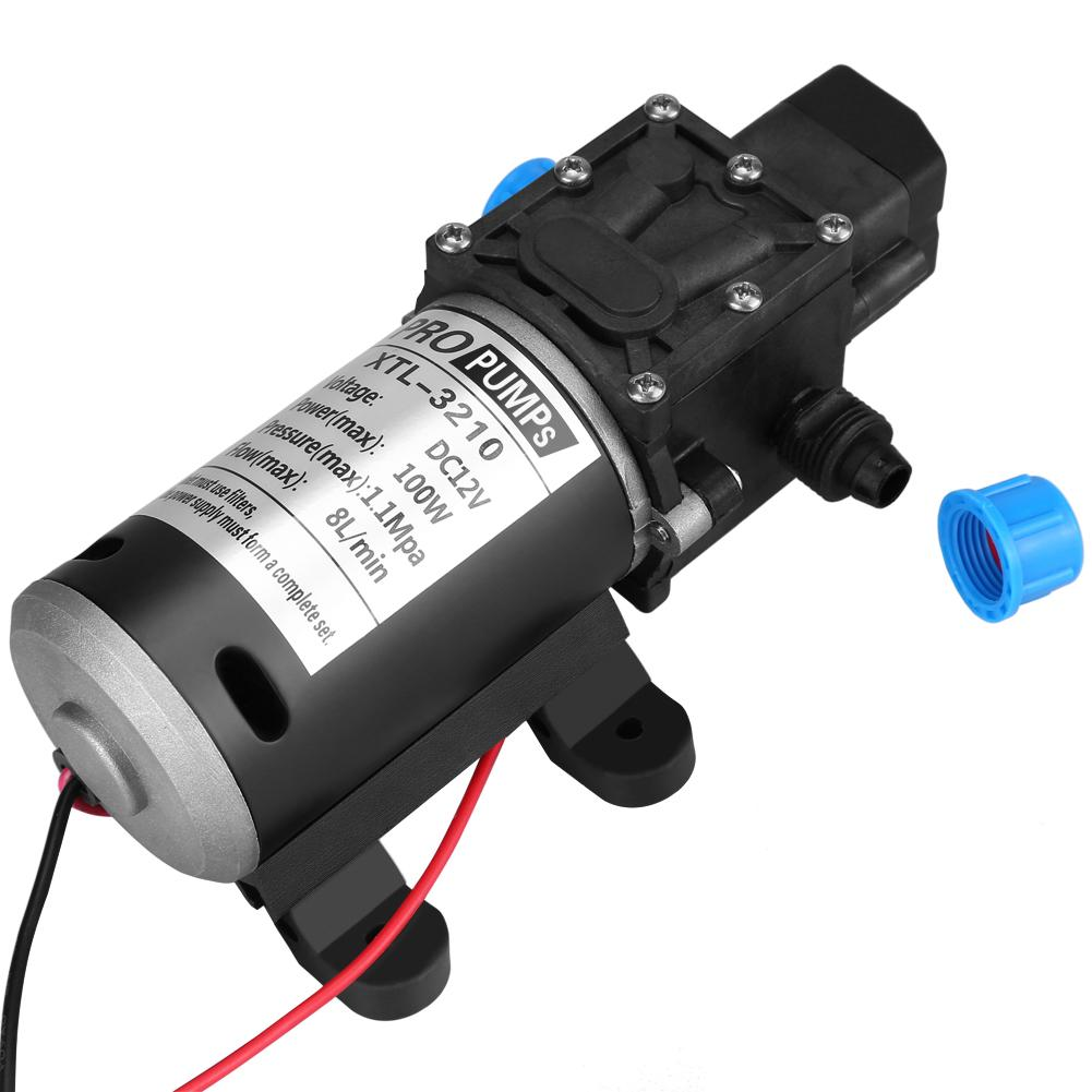 Oversea Black 12V DC 100W 8L/Min 160Psi High Pressure Diaphragm Self Priming Water Pump for Caravan Camping Car Wash Water Pump