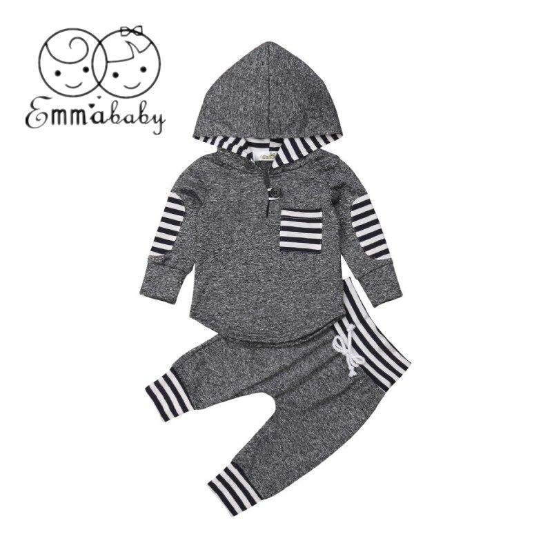 2019 nuevo 3 M-3 T recién nacido Niño niña niño otoño cálido Sudadera con capucha + pantalones traje de rayas ropa de retazos