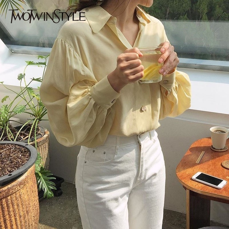 TWOTWINSTYLE linterna manga camisas blusa mujer solapa cuello manga larga gran tamaño Top femenino primavera 2019 moda coreana
