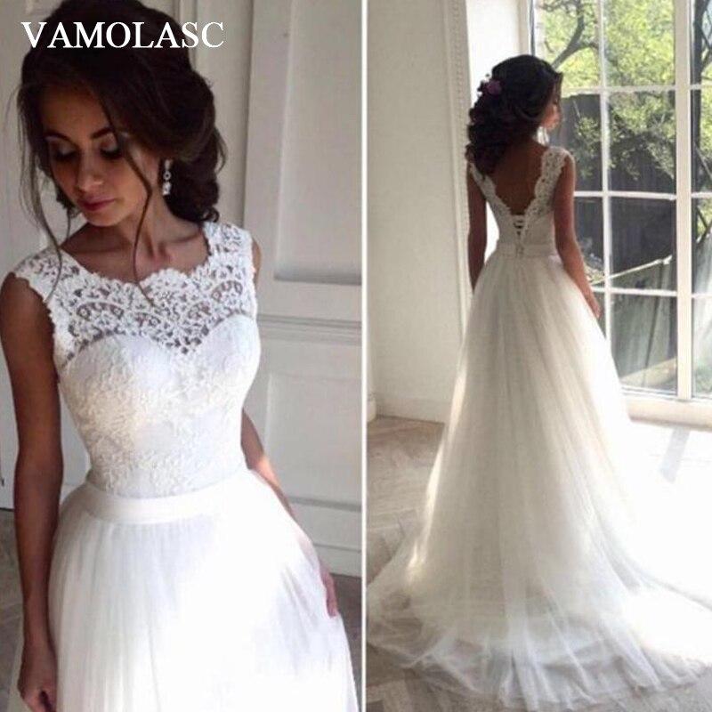 Promo VAMOLASC Robe De Mariee Long Suknia ślubna Vestidos Satin Wedding Dress Embroidery  Robe De Soiree Longue Formal Simple Ve