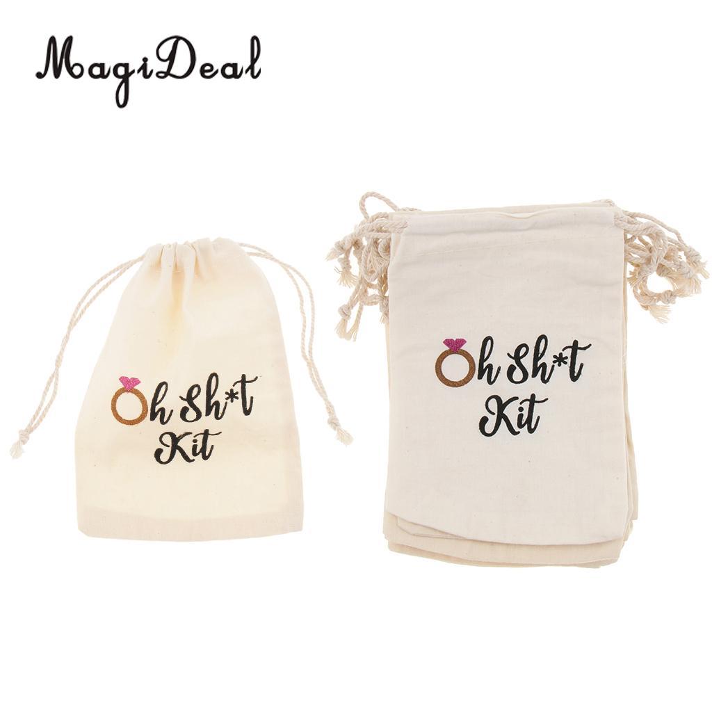 10 pçs oh merda kit algodão linho jóias bolsa cordão saco casamento favor